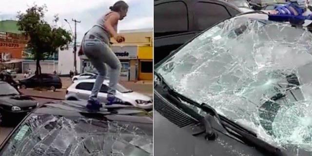 menghancurkan mobil suaminya