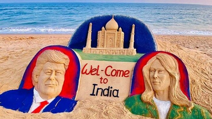 Sand artist depicts US President Trump's visit to India